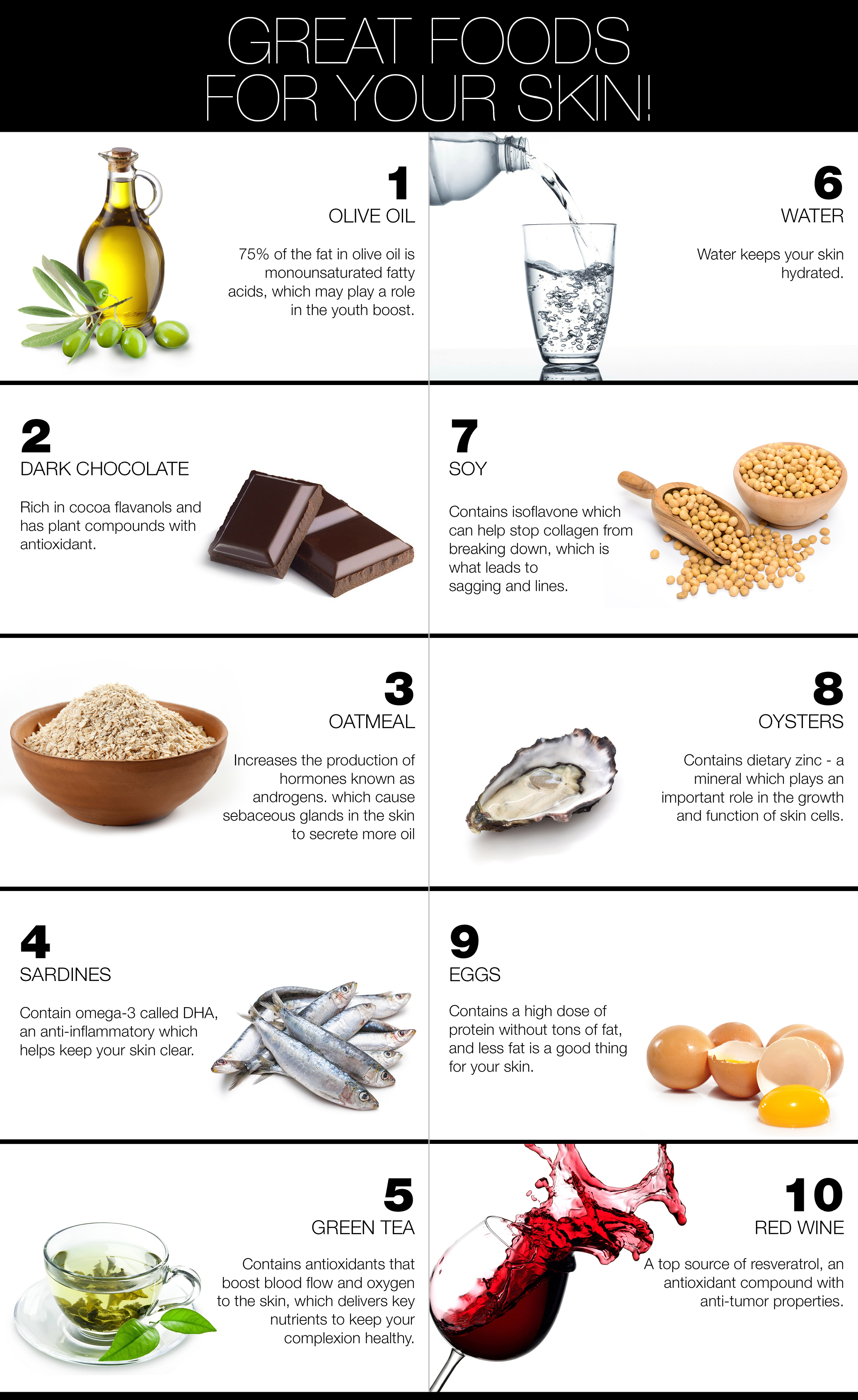 Foods have beneficial properties for your skin!